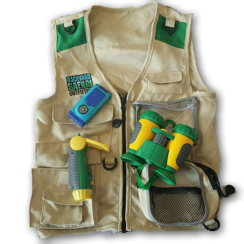 Backyard Safari Jacket with binoculars, torch and other accessories