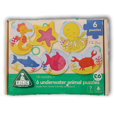 6 Underwater Animal Puzzles 2 pc puzzle