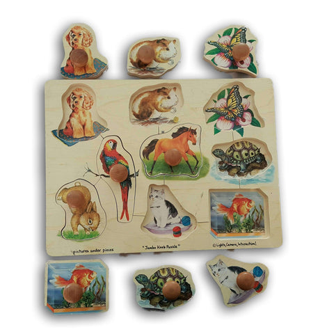 Wooden Large Knobbed Puzzle (Animals)