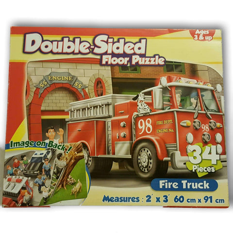Double Sided Floor Puzzle Fire Truck New