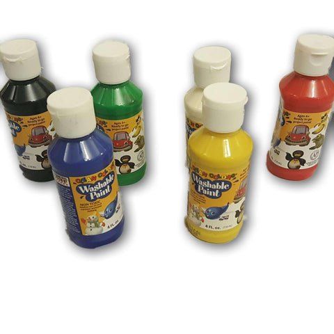 Washable Paint (6 New Sealed Colours Of 4 Fl Oz Each)