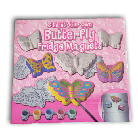 6 paint your own Butterfly Fridge magnet set