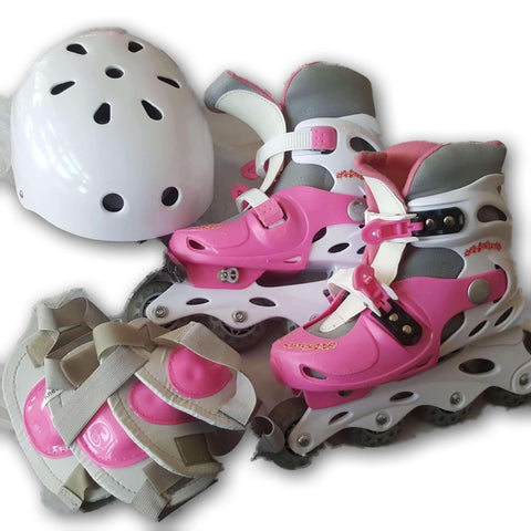 Inline Skates For A Ges 5 To 8, With Helmet And Protective Gear