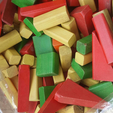 Assorted wooden blocks (coloured)