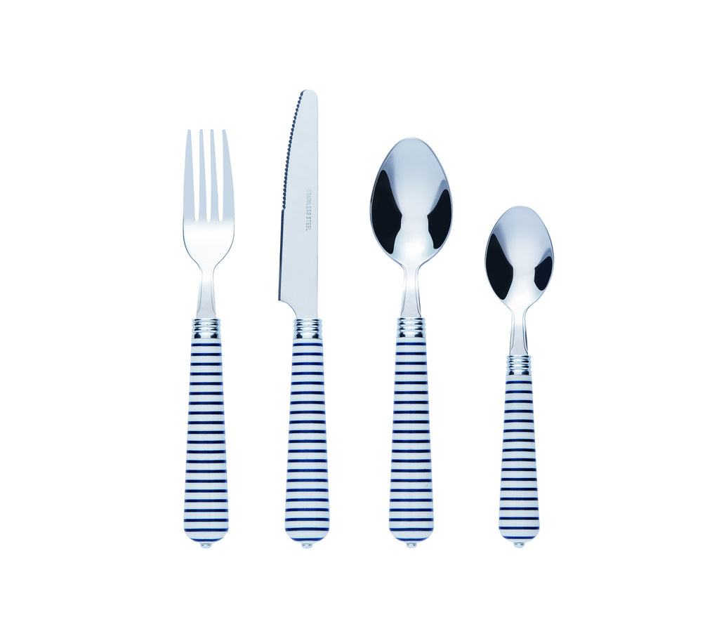 Bon Sweetheart 16-Piece Stainless Steel Cutlery Set - Blue Stripe