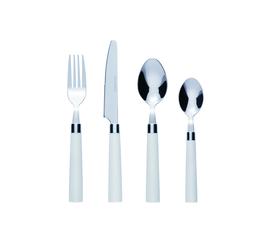 Bon Florentine 16-Piece Stainless Steel Cutlery Set - White