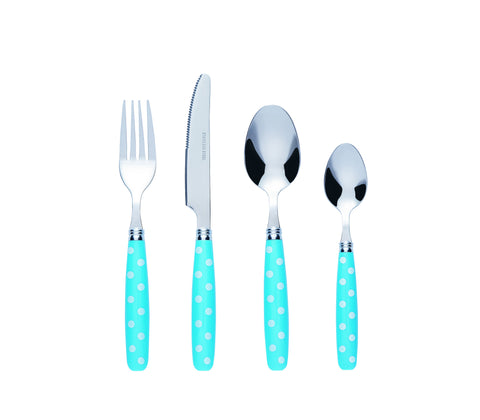 Bon Float 16-Piece Stainless Steel Cutlery Set - Blue/White Dot