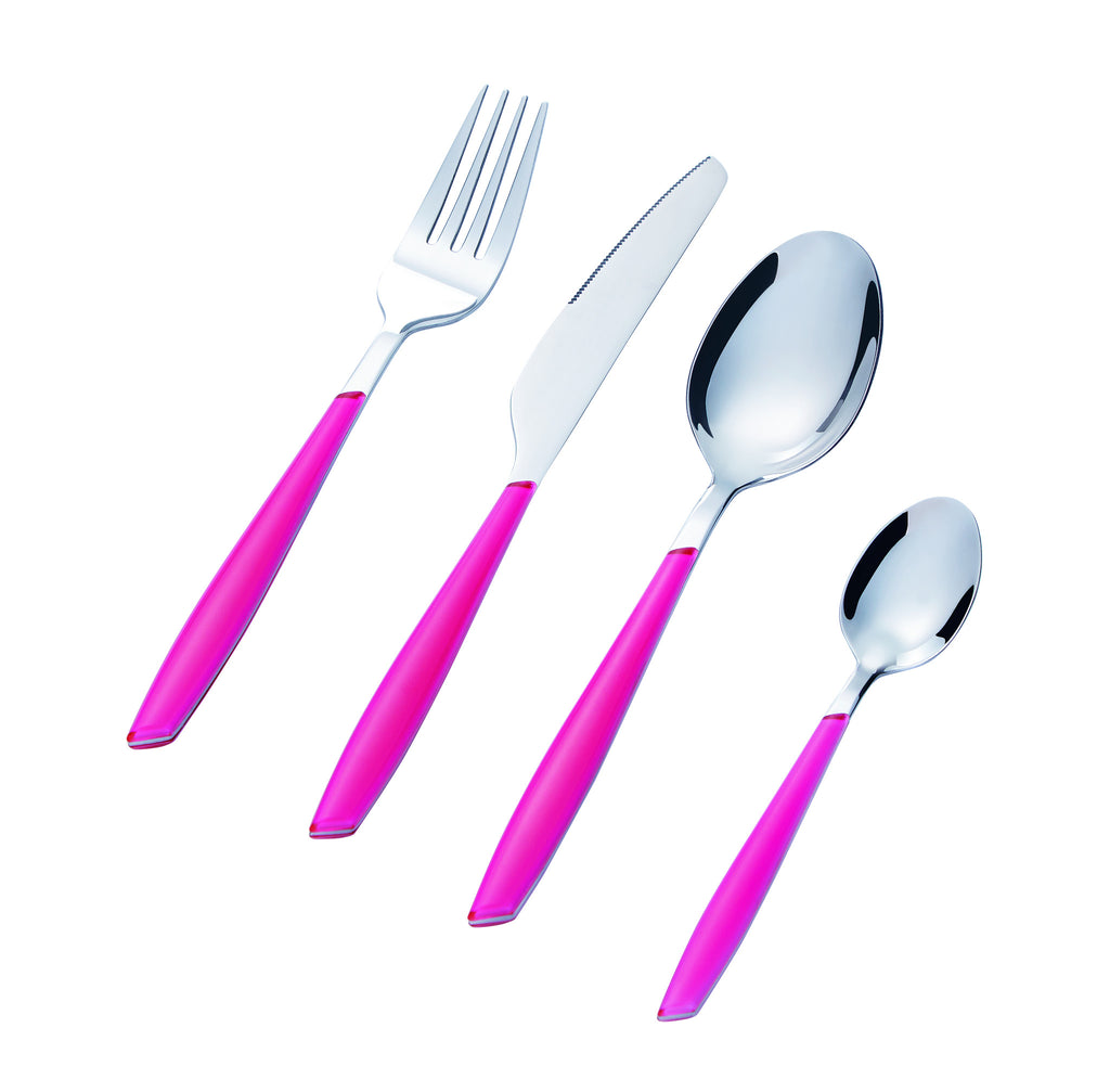 Bon Leaf 16-Piece Stainless Steel Cutlery Set - Pink