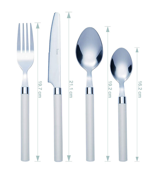 Bon Funnel 16-Piece Stainless Steel Cutlery Set - Ivory