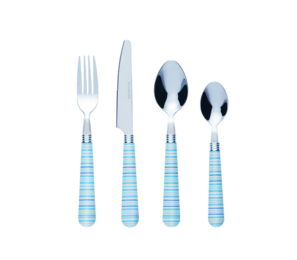 Bon Halter 24-Piece Stainless Steel Cutlery Set - Blue Stripe