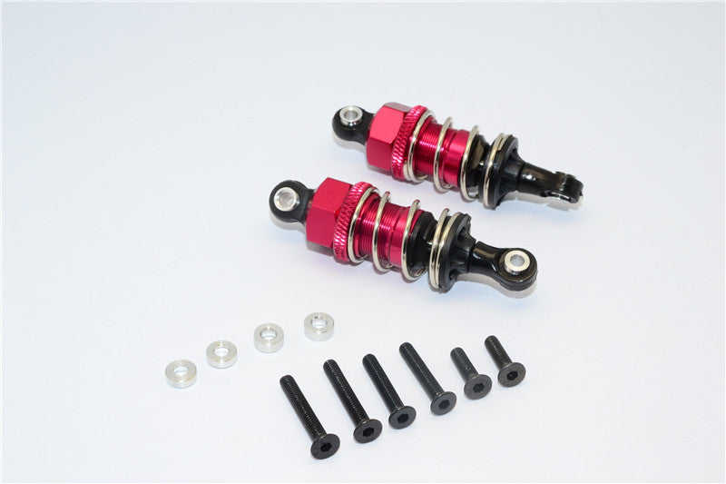 1/10 Touring -Plastic Ball Top Damper (50mm) With Washers & Screws - 1Pr Set Red - JTeamhobbies