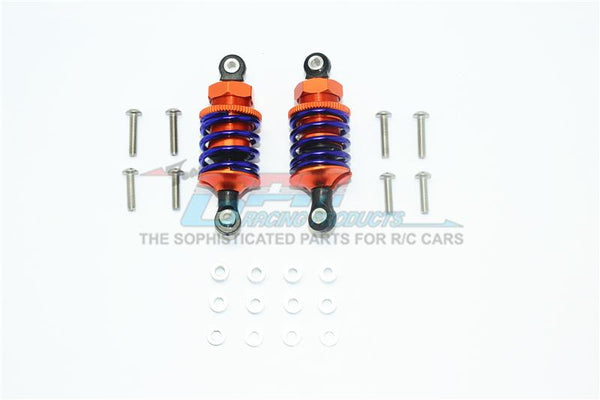 Aluminum Front Or Rear Spring Dampers (50mm) For 1:10 R/C Cars - 1Pr Set Orange