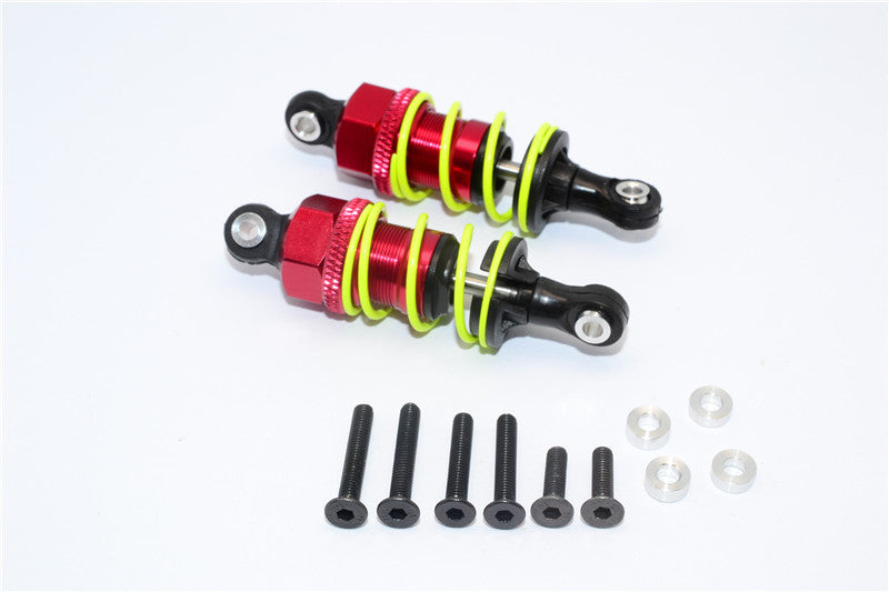 1/10 Touring - Plastic Ball Top Damper (55mm) With Washers & Screws - 1Pr Set Red - JTeamhobbies