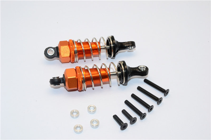 1/10 Touring - Plastic Ball Top Damper (60mm) With Washers & Screws - 1Pr Set Orange - JTeamhobbies