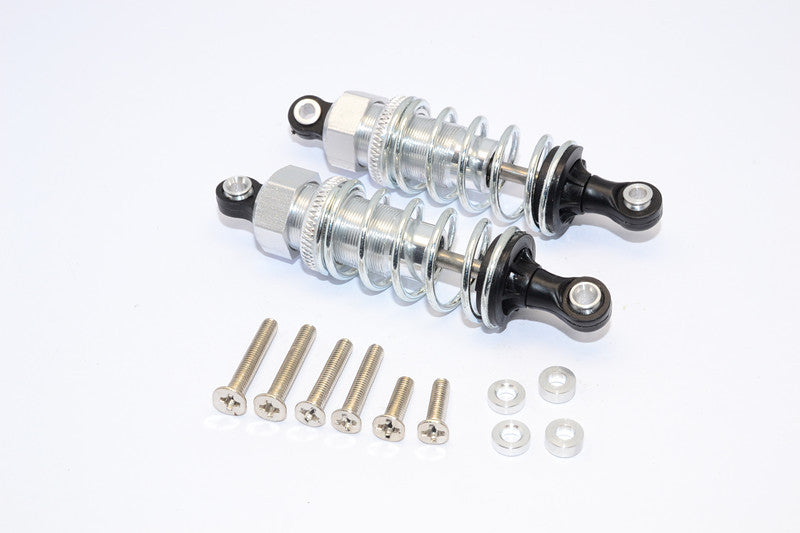 1/10 Touring - Plastic Ball Top Damper (65mm) With Washers & Screws - 1Pr Set Silver - JTeamhobbies
