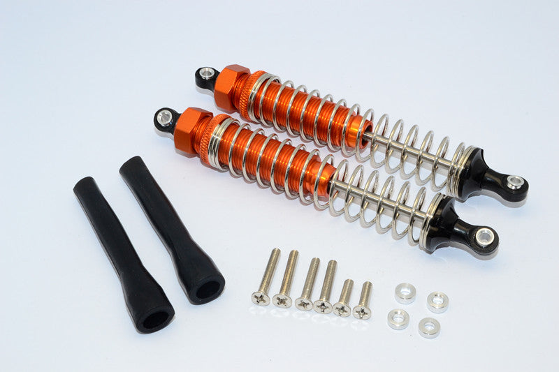 Off-Road - Plastic Ball Top Damper (110mm) With Dust-Proof Black Plastic Cover & Washers & Screws - 1Pr Set Orange