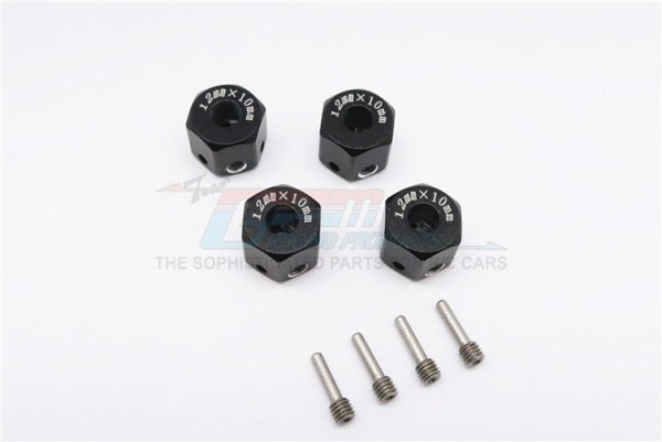 Aluminum Universal Hex Adapter 12mmx10mm - 4Pcs Set Black