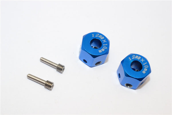 Aluminum Universal Hex Adapter 12mmx10mm - 2Pcs Set Blue