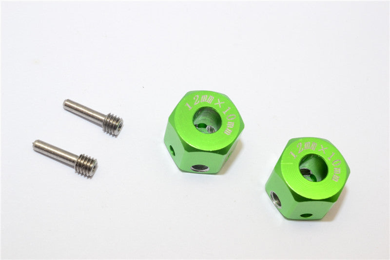 Aluminum Universal Hex Adapter 12mmx10mm - 2Pcs Set Green