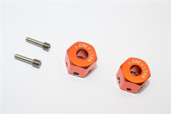 Aluminum Universal Hex Adapter 12mmx10mm - 2Pcs Set Orange