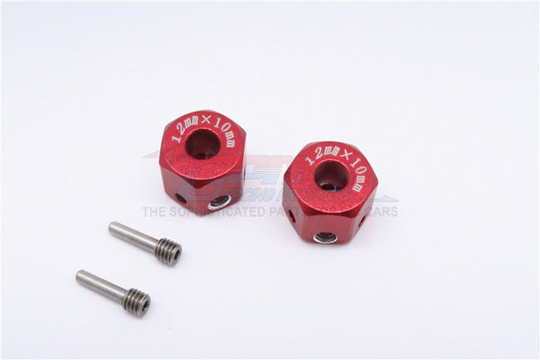 Aluminum Universal Hex Adapter 12mmX10mm - 2Pcs Set Red