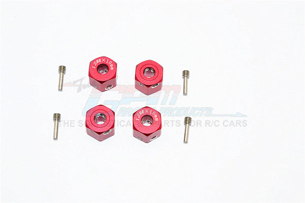 Aluminum Universal Hex Adapter 12mmx10mm - 4Pcs Set Red