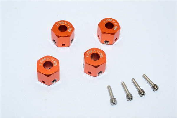 Aluminum Universal Hex Adapter 12mmx11mm - 4Pcs Set Orange
