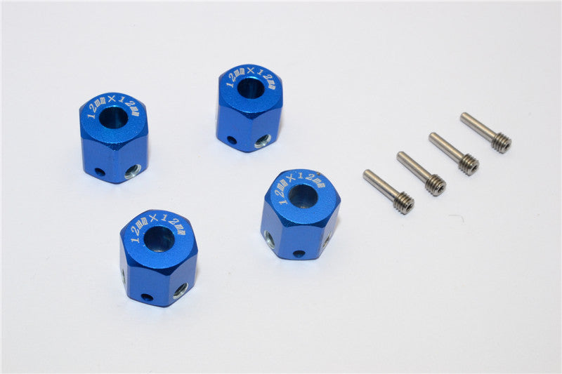 Aluminum Universal Hex Adapter 12mmx12mm - 4Pcs Set Blue