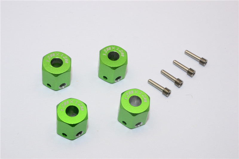 Aluminum Universal Hex Adapter 12mmx12mm - 4Pcs Set Green