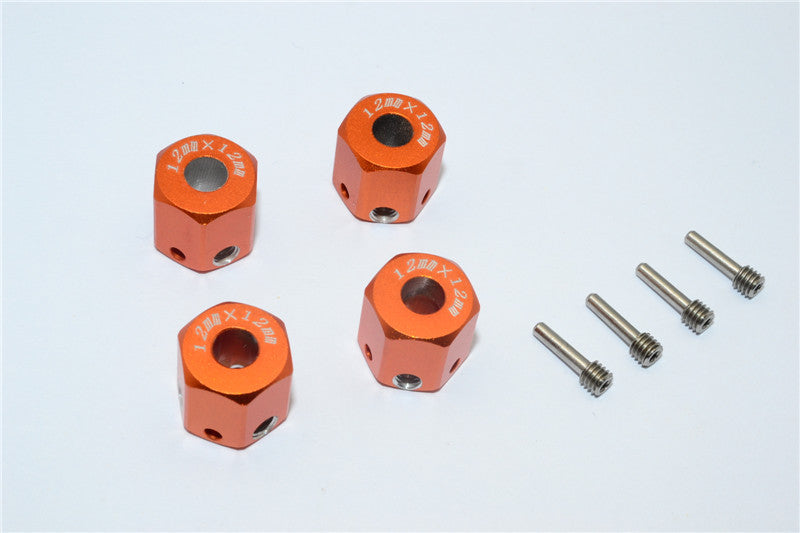 Aluminum Universal Hex Adapter 12mmx12mm - 4Pcs Set Orange