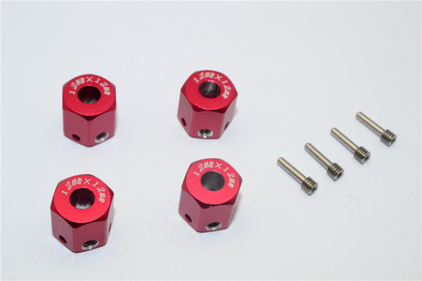 Aluminum Universal Hex Adapter 12mmx12mm - 4Pcs Set Red