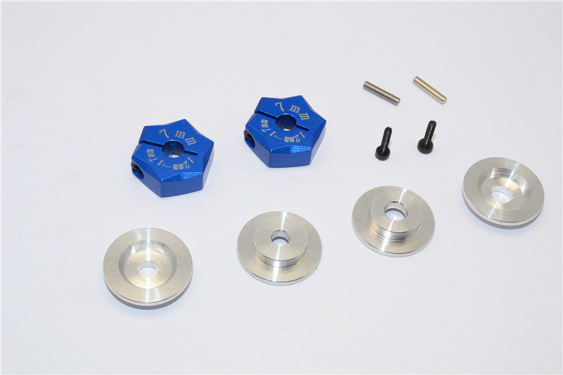 Aluminum Hex Adapter From 12mm Convert To 17mm With 7mm Thickness - 2Pcs Set Blue
