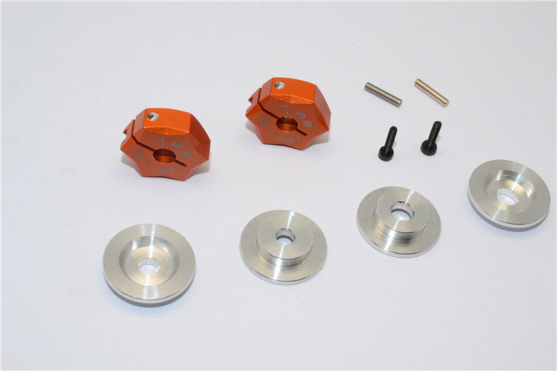 Aluminum Hex Adapter From 12mm Convert To 17mm With 7mm Thickness - 2Pcs Set Orange