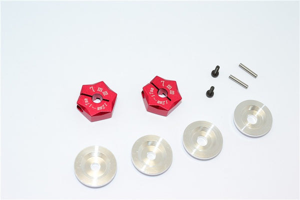 Aluminum Hex Adapter From 12mm Convert To 17mm With 7mm Thickness - 2Pcs Set Red