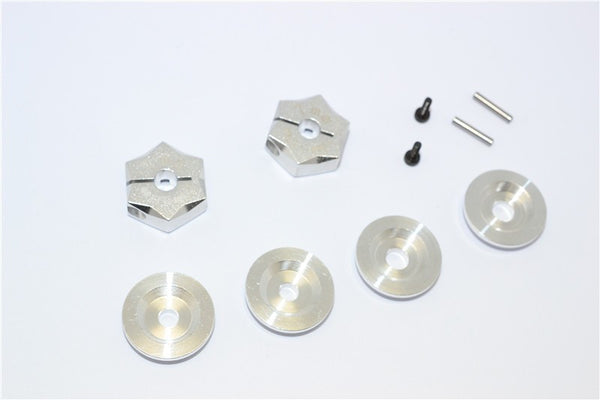 Aluminum Hex Adapter From 12mm Convert To 17mm With 7mm Thickness - 2Pcs Set Silver