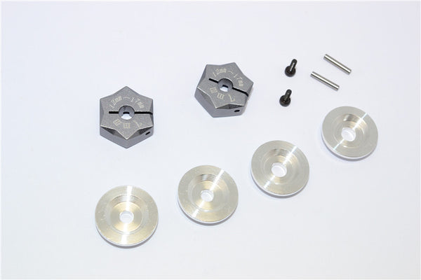 Aluminum Hex Adapter From 12mm Convert  To 17mm With 7mm Thickness - 2Pcs Set Gray Silver