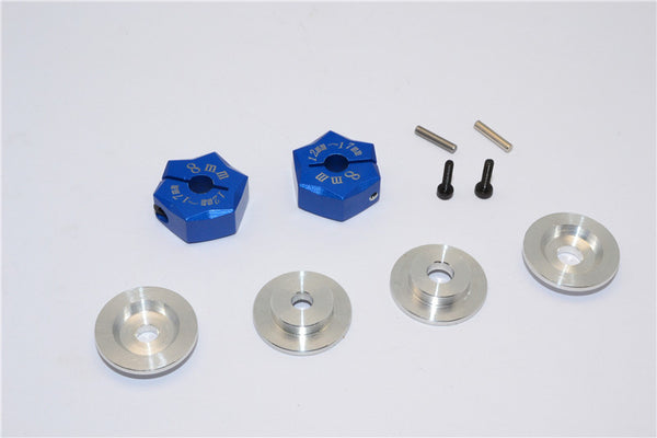 Aluminum Hex Adapter From 12mm Convert To 17mm With 8mm Thickness - 2Pcs Set Blue