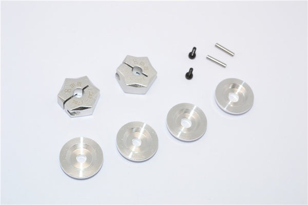 Aluminum Hex Adapter From 12mm Convert To 17mm With 8mm Thickness - 2Pcs Set Silver