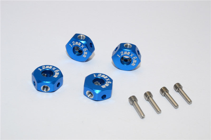 Aluminum Universal Hex Adapter 12mmx6mm - 4Pcs Set Blue