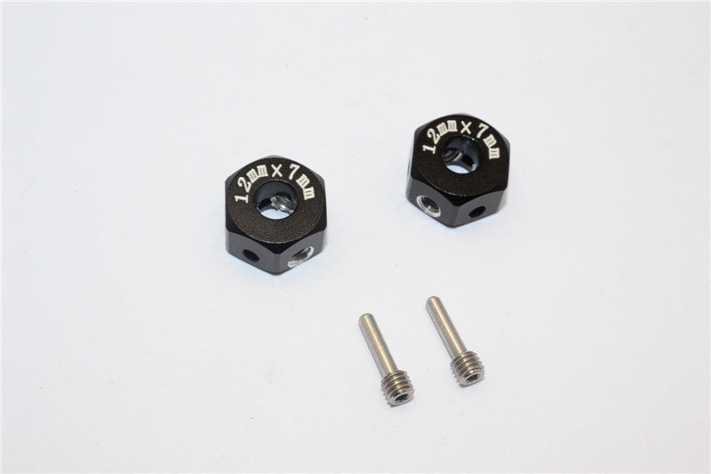 Aluminum Universal Hex Adapter 12mmx7mm - 2Pcs Set Black