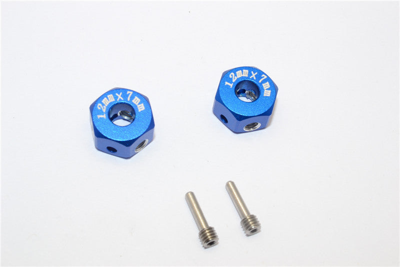 Aluminum Universal Hex Adapter 12mmx7mm - 2Pcs Set Blue
