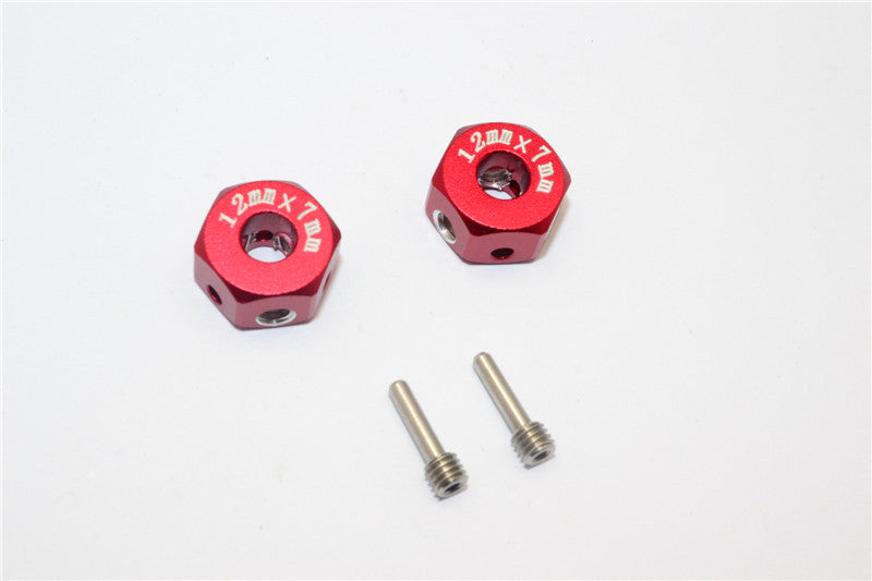 Aluminum Universal Hex Adapter 12mmx7mm - 2Pcs Set Red