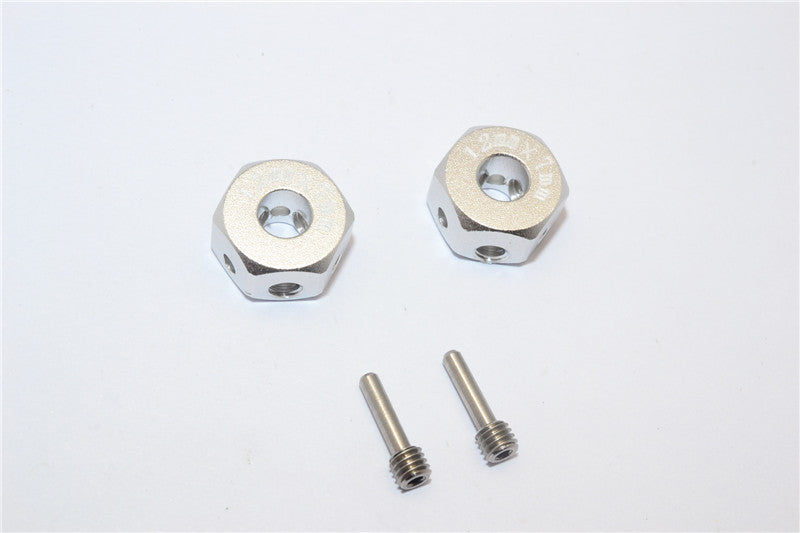 Aluminum Universal Hex Adapter 12mmx7mm - 2Pcs Set Silver