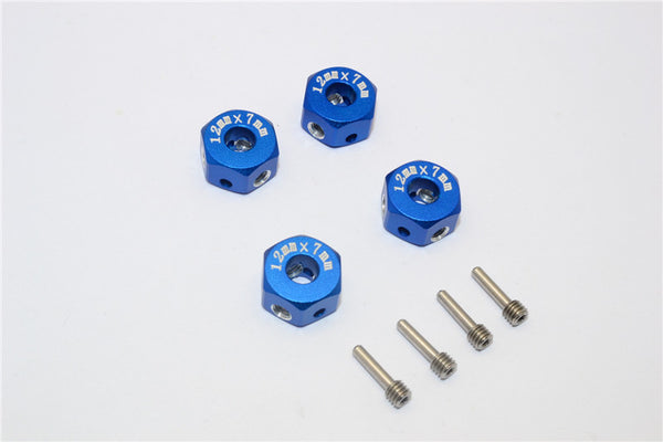 Aluminum Universal Hex Adapter 12mmx7mm - 4Pcs Set Blue