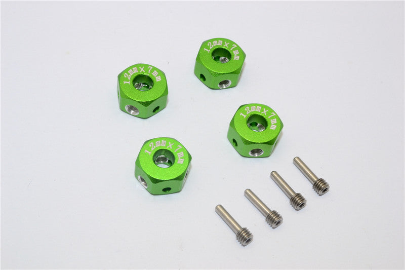 Aluminum Universal Hex Adapter 12mmx7mm - 4Pcs Set Green