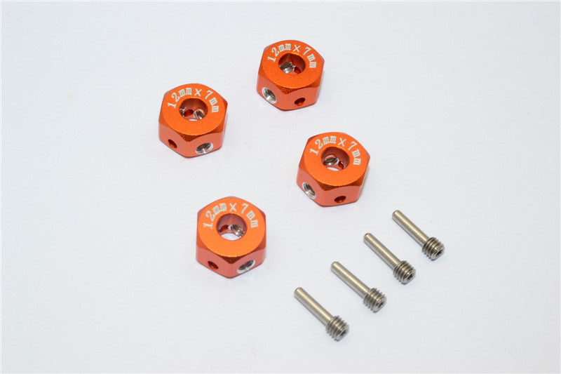 Aluminum Universal Hex Adapter 12mmx7mm - 4Pcs Set Orange