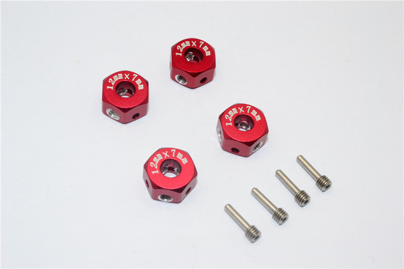 Aluminum Universal Hex Adapter 12mmx7mm - 4Pcs Set Red