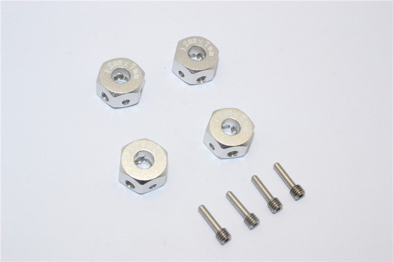 Aluminum Universal Hex Adapter 12mmx7mm - 4Pcs Set Silver