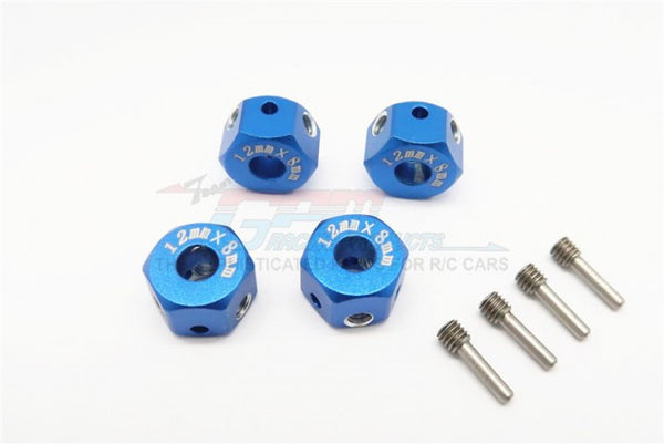 Aluminum Universal Hex Adapter 12mmx8mm - 4Pcs Set Blue