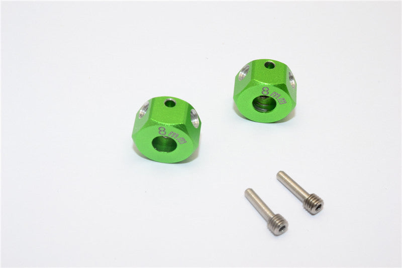 Aluminum Universal Hex Adapter 12mmx8mm - 2Pcs Set Green